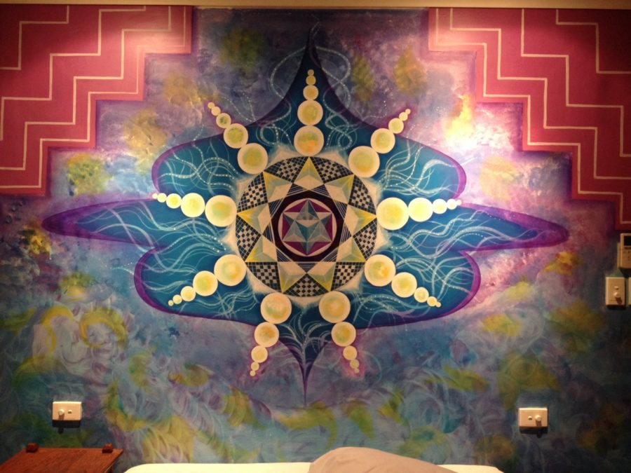 Mural art at bed room